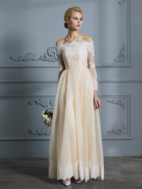 A-Line/Princess Off-the-Shoulder Long Sleeves Lace Floor-Length Tulle Wedding Dresses