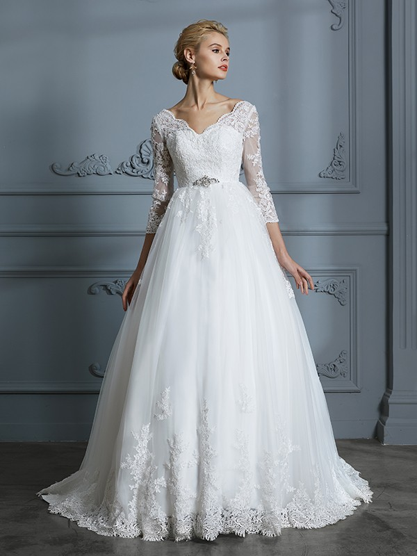 Ball Gown V-neck 3/4 Sleeves Tulle Court Train Lace Wedding Dresses