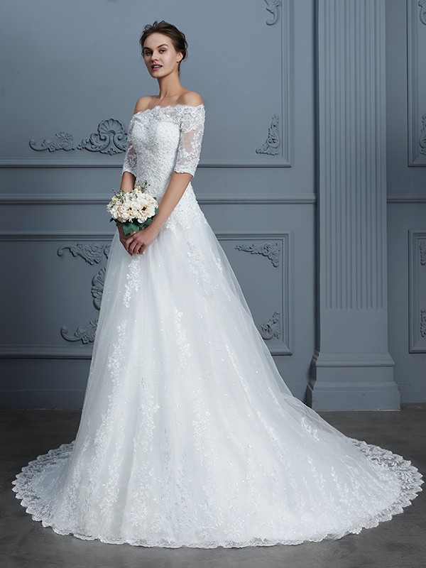 Ball Gown Off-the-Shoulder 1/2 Sleeves Beading Court Train Lace Wedding Gowns