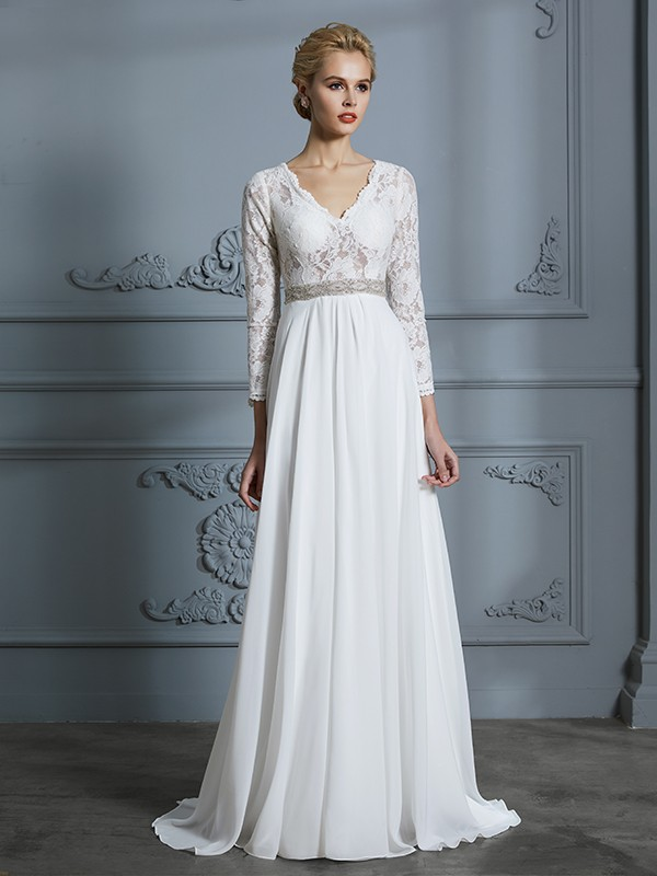 A-Line/Princess V-neck 3/4 Sleeves Chiffon Lace Sweep/Brush Train Wedding Dresses