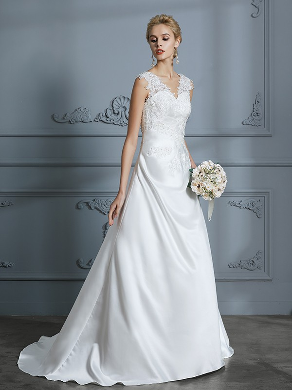 A-Line/Princess V-neck Satin Sleeveless Sweep/Brush Train Wedding Dresses with Applique