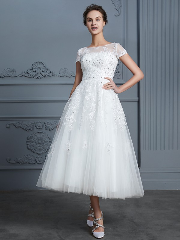 A-Line/Princess Scoop Short Sleeves Tea-Length Tulle Beading Wedding Dresses