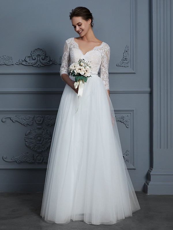 A-Line/Princess V-neck 3/4 Sleeves Lace Tulle Long Wedding Dresses