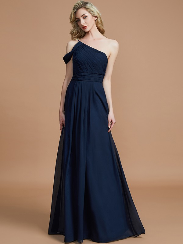 A-Line/Princess One-Shoulder Floor-Length Chiffon Sleeveless Bridesmaid Dresses