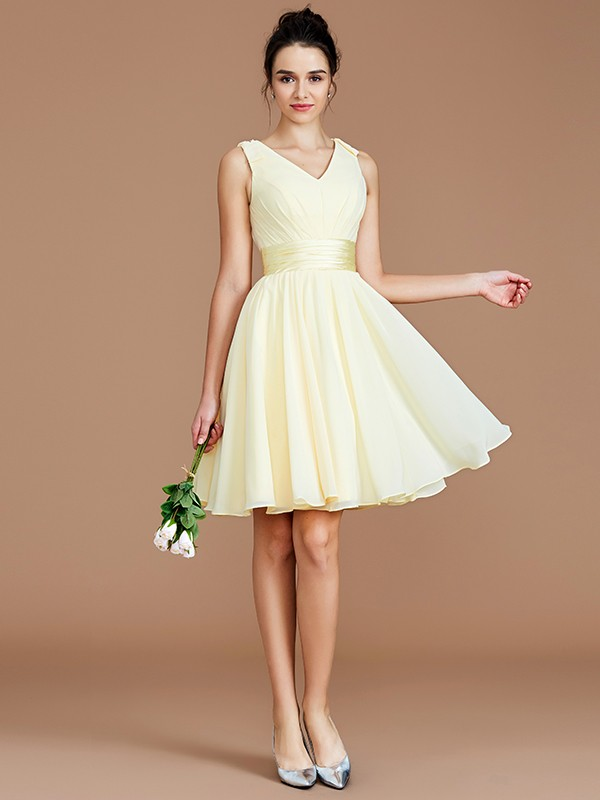 A-Line/Princess V-neck Sleeveless Sash/Ribbon/Belt Short/Mini Chiffon Bridesmaid Dresses