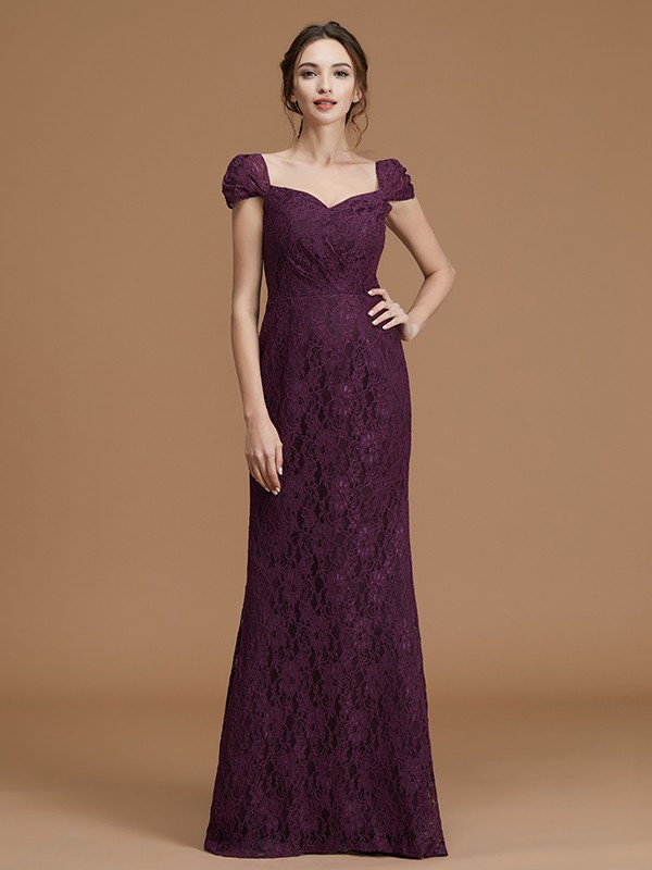 Sheath/Column Sweetheart Floor-Length Lace Short Sleeves Satin Bridesmaid Gown