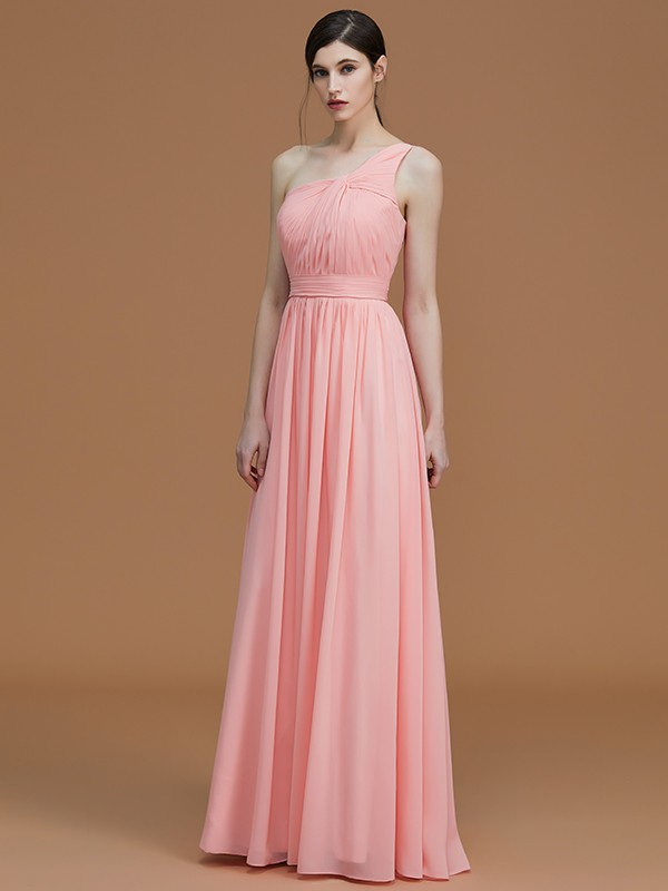 A-Line/Princess One-Shoulder Sleeveless Floor-Length Ruched Chiffon Bridesmaid Dresses