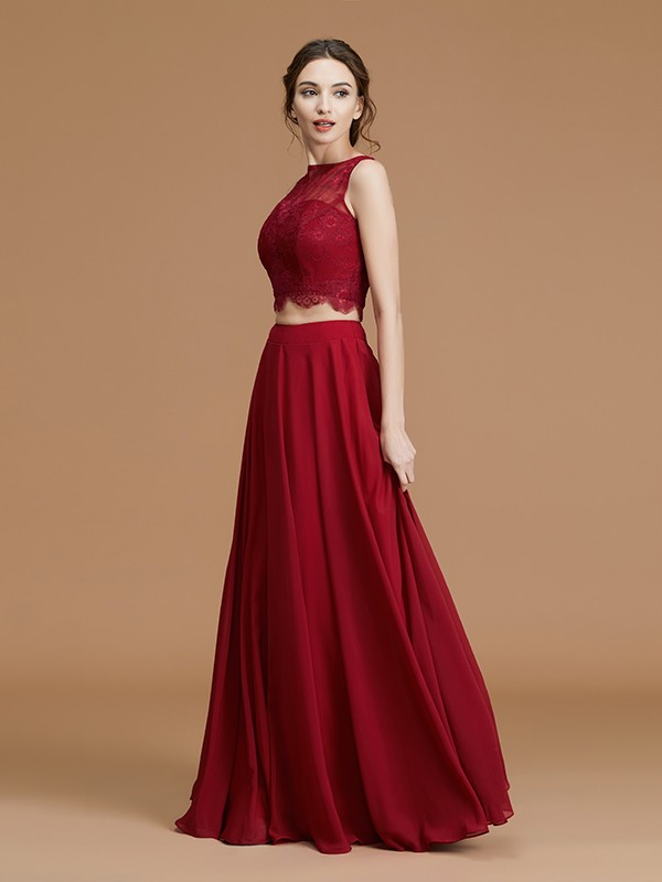 A-Line/Princess Bateau Sleeveless Floor-Length Lace Chiffon Bridesmaid Gown