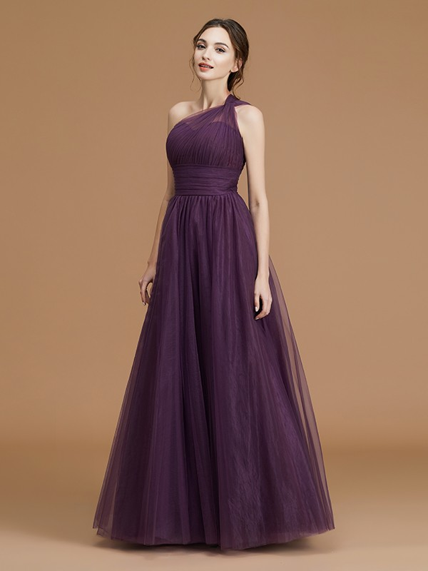 A-Line/Princess One-Shoulder Sleeveless Ruched Floor-Length Tulle Bridesmaid Gown
