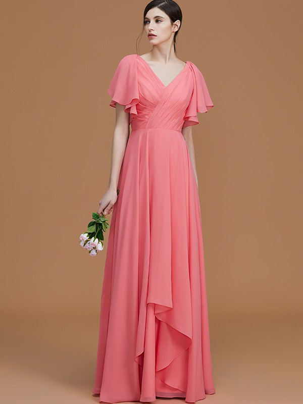 A-Line/Princess V-neck Short Sleeves Floor-Length Ruched Chiffon Bridesmaid Dresses