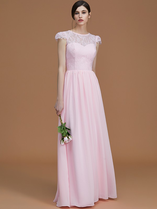 A-Line/Princess Jewel Short Sleeves Floor-Length Lace Chiffon Bridesmaid Dresses