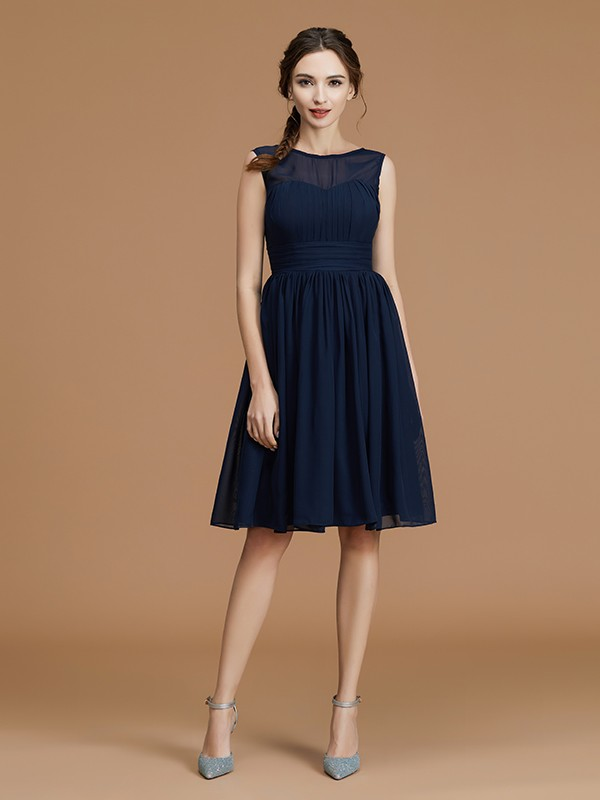 A-Line/Princess Sleeveless Bateau Chiffon Ruffles Short Bridesmaid Dresses