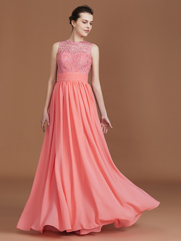 A-Line/Princess Jewel Sleeveless Lace Chiffon Floor-Length Bridesmaid Dresses