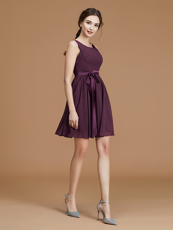 A-Line Bateau Sash/Ribbon/Belt Chiffon Sleeveless Short Bridesmaid Gown