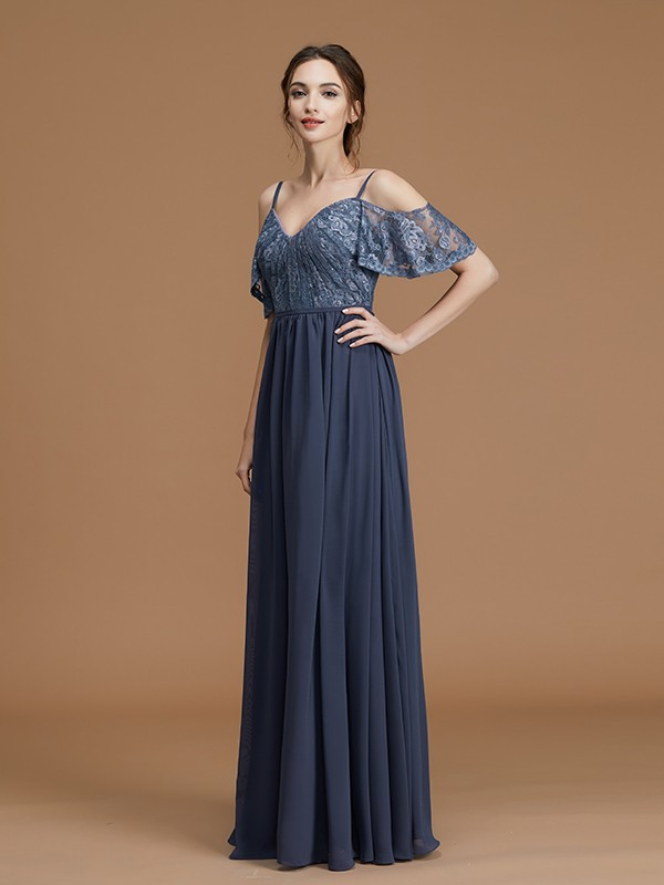A-Line/Princess Spaghetti Straps Sleeveless Lace Chiffon Long Bridesmaid Dresses