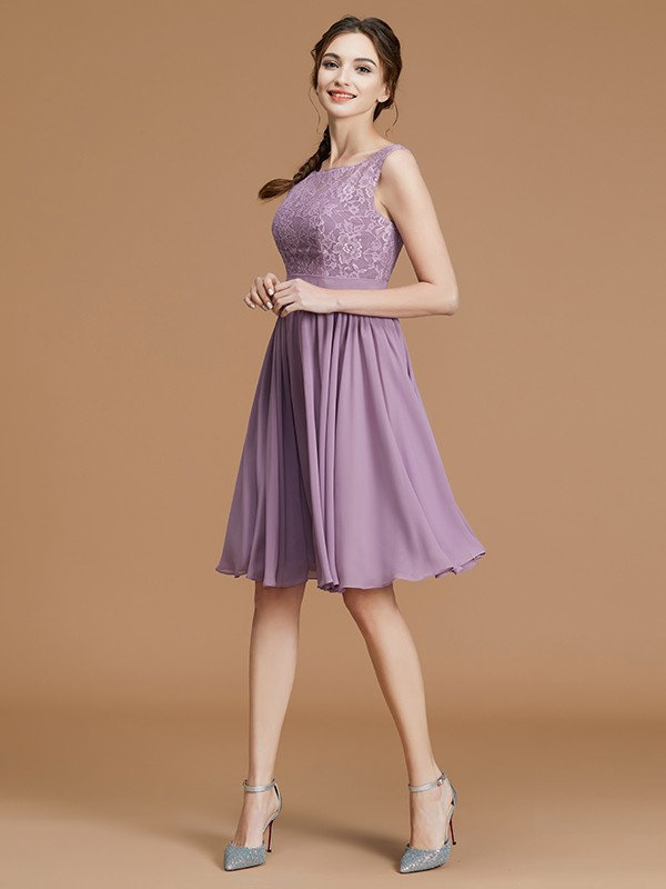 A-Line/Princess Bateau Lace Chiffon Sleeveless Short Bridesmaid Gown