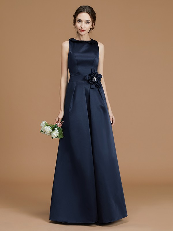 A-Line/Princess Bateau Sleeveless Satin Hand-Made Flower Long Bridesmaid Dresses