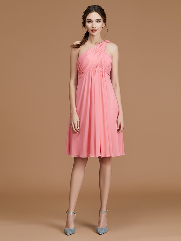 A-Line One-Shoulder Chiffon Sleeveless Short Bridesmaid Dresses With Ruched