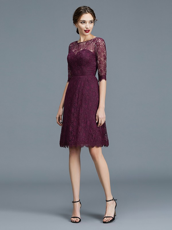 A-Line/Princess Bateau 1/2 Sleeves Lace Satin Knee-Length Bridesmaid Dresses