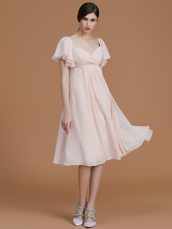 Empire Sweetheart Short Sleeves Knee-Length Ruched Chiffon Bridesmaid Dresses
