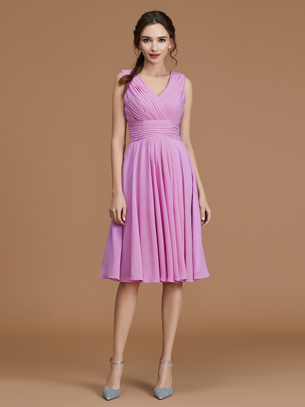 A-Line/Princess V-neck Sleeveless Chiffon Ruched Short Bridesmaid Dresses