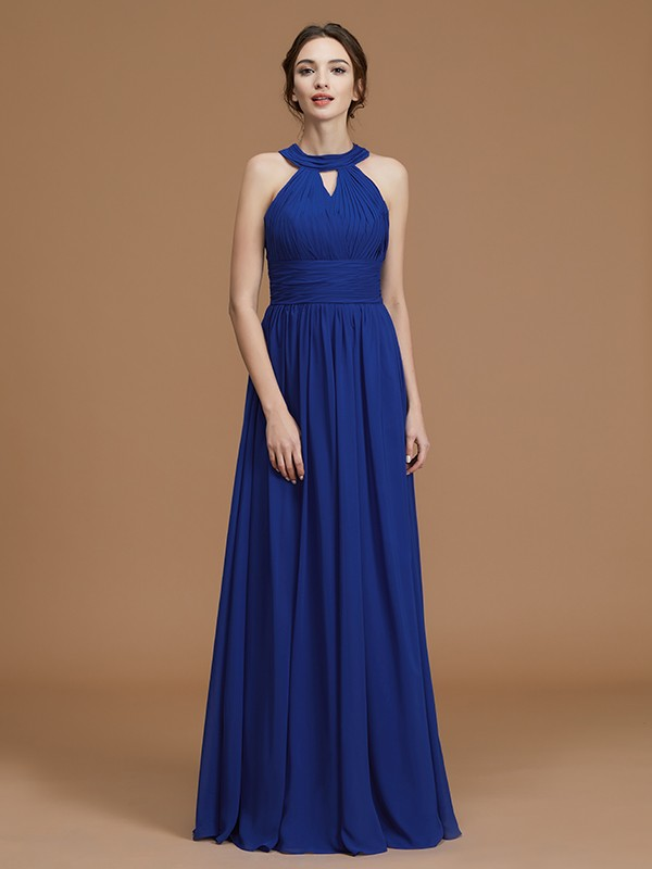 A-Line/Princess Halter Sleeveless Ruched Long Chiffon Bridesmaid Gown