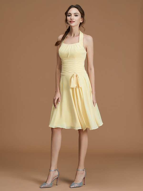 A-Line Halter Chiffon Sleeveless Short Bridesmaid Gown With Ruffles
