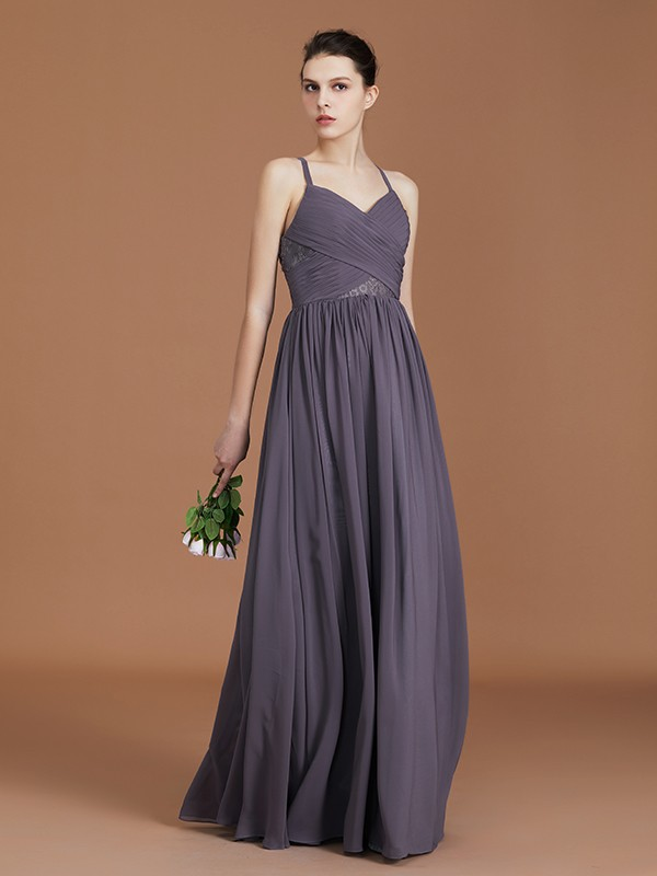 A-Line/Princess Lace Floor-Length Spaghetti Straps Sleeveless Chiffon Bridesmaid Dress