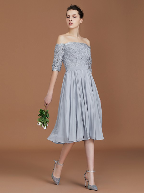 A-Line/Princess Off-the-Shoulder Short Sleeves Tea-Length Lace Chiffon Bridesmaid Gown