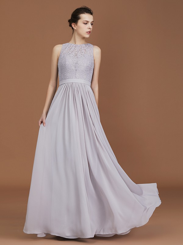 A-Line/Princess Scoop Lace With Ruched Long Chiffon Bridesmaid Gown