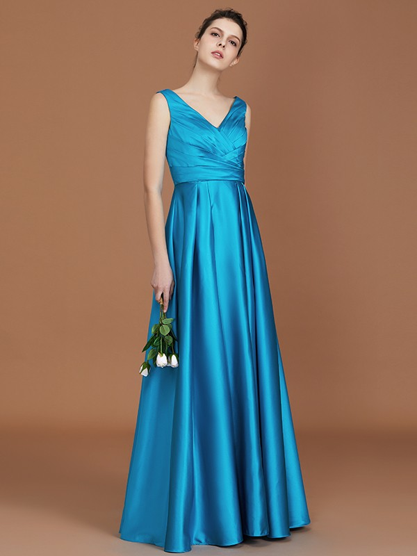 A-Line/Princess V-neck Floor-Length Sleeveless With Ruffles Satin Bridesmaid Gown