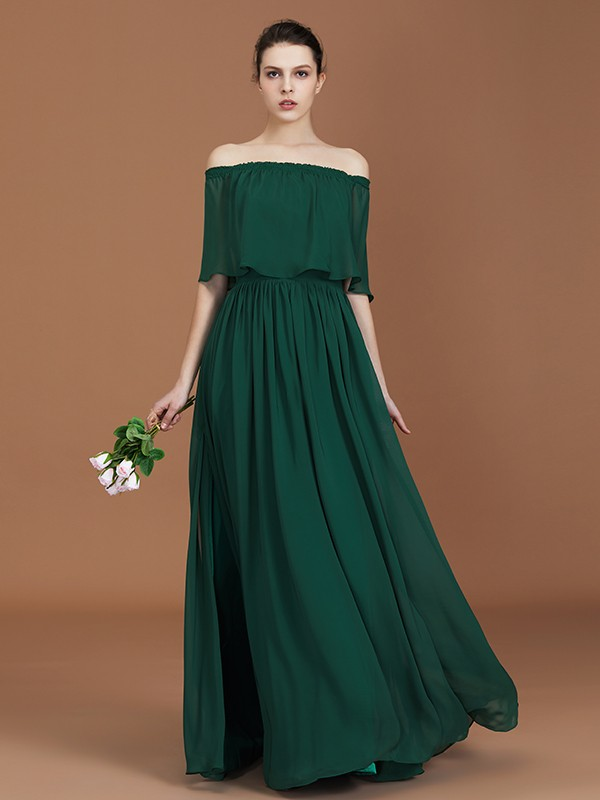 A-Line/Princess Pleats Off-the-Shoulder Chiffon Floor-Length Bridesmaid Gown
