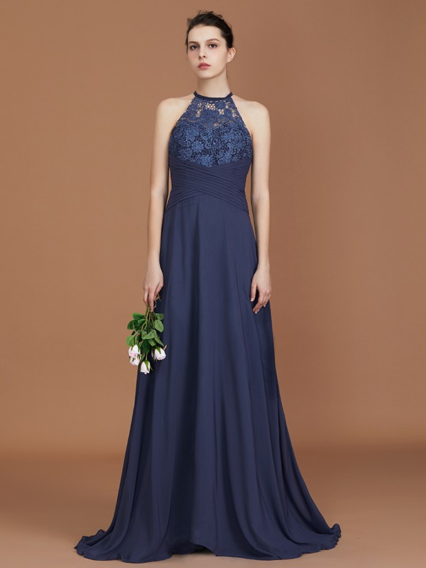 A-Line/Princess Scoop Sleeveless Sweep/Brush Train Chiffon Lace Bridesmaid Dress