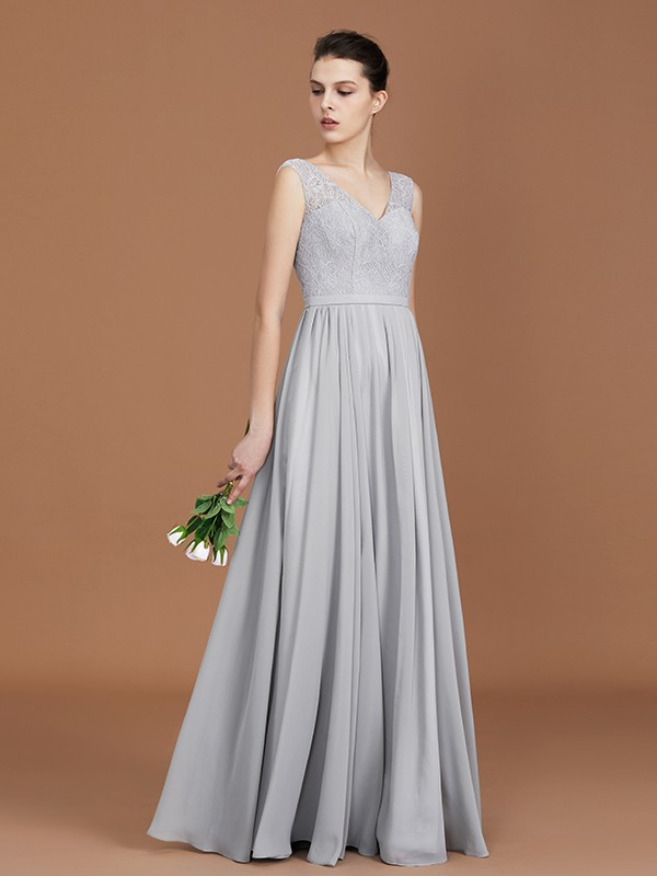 A-Line/Princess V-neck Sleeveless Chiffon Floor-Length Lace Bridesmaid Gown