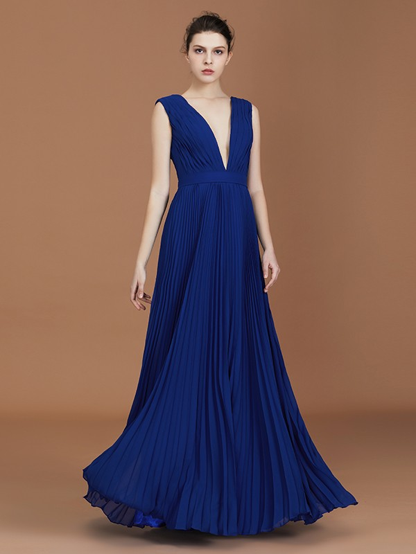 A-Line/Princess V-neck Floor-Length Sleeveless Pleated Chiffon Bridesmaid Dress