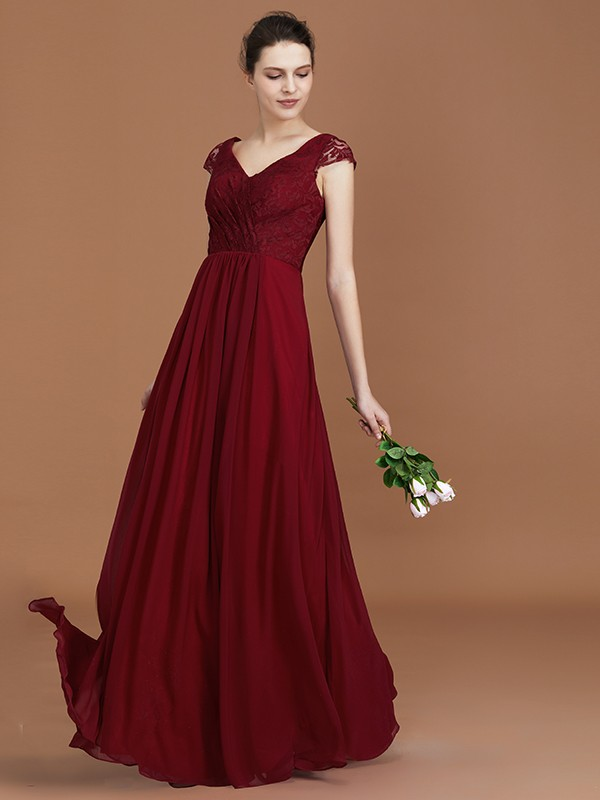 A-Line Lace V-neck Floor-Length Short Sleeves Ruched Chiffon Bridesmaid Dresses