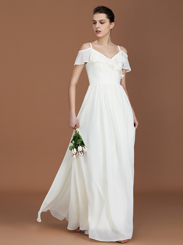 A-Line V-neck Floor-Length Short Sleeves Spaghetti Straps Ruched Chiffon Bridesmaid Dresses