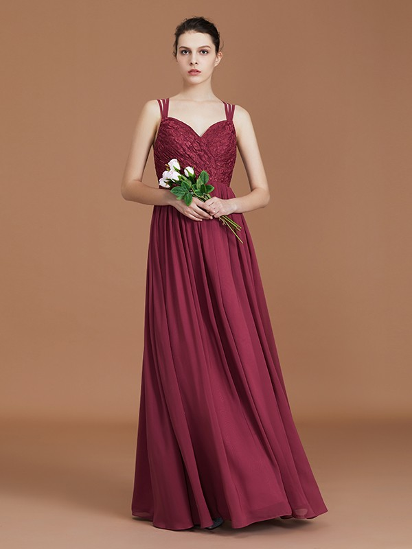 A-Line/Princess Lace Sweetheart Chiffon Floor-Length Bridesmaid Dresses With Ruched