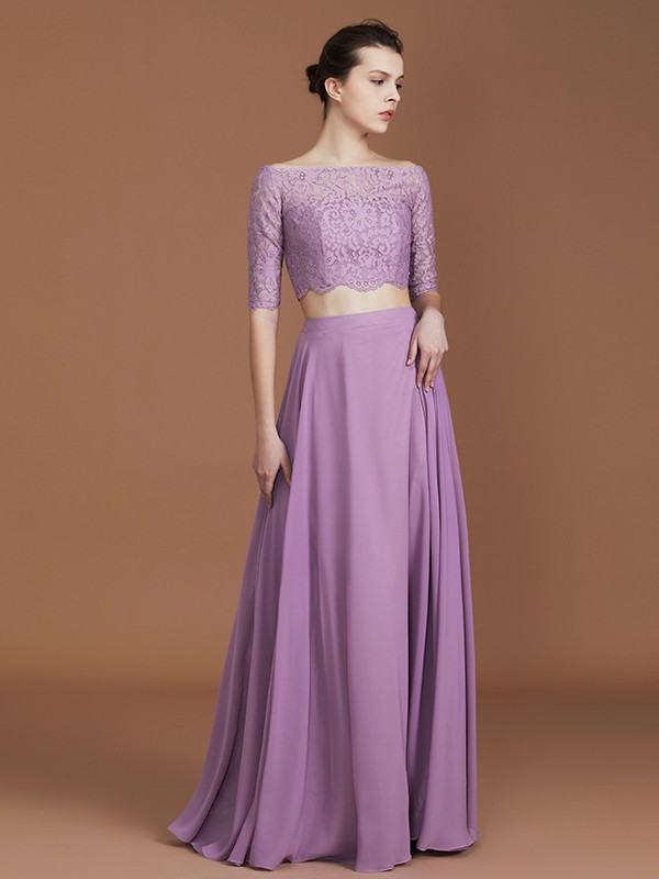 A-Line/Princess Lace Off-the-Shoulder 1/2 Sleeves Long Chiffon Bridesmaid Dress