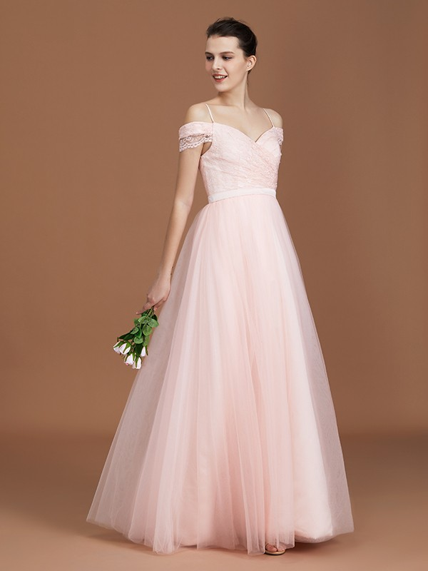 A-Line/Princess Sweetheart Short Sleeves Lace Spaghetti Straps Ruched Tulle Long Bridesmaid Dresses