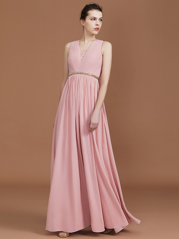 A-Line/Princess V-neck Lace Sleeveless Chiffon Floor-Length Bridesmaid Dresses With Ruched