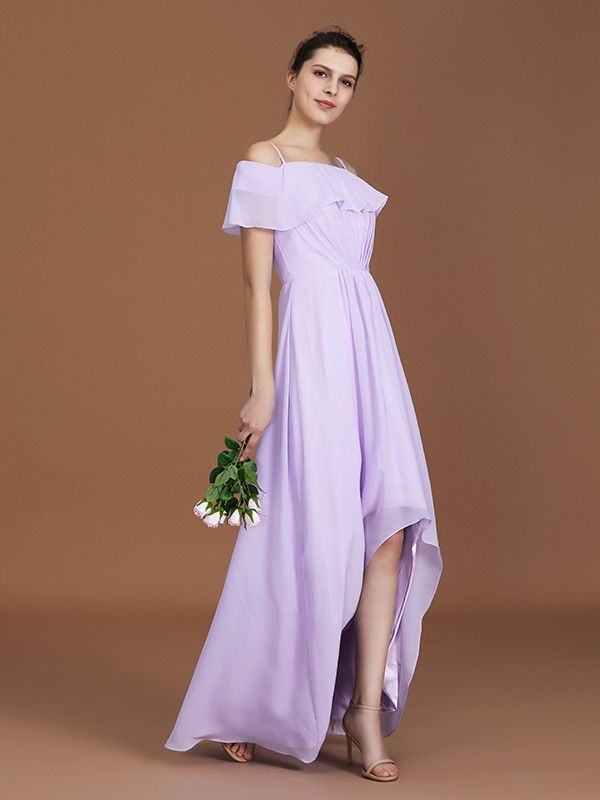 A-Line Off-the-Shoulder Asymmetrical Short Sleeves Chiffon Ruched Bridesmaid Dresses