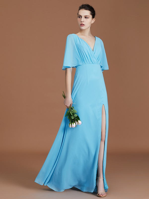 A-Line/Princess V-neck 1/2 Sleeves Floor-Length Chiffon Bridesmaid Gown