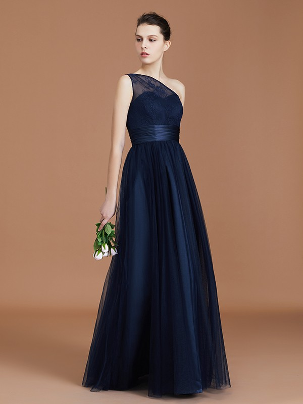 A-line/Princess One-Shoulder Lace Tulle Floor-Length Sleeveless Bridesmaid Dresses