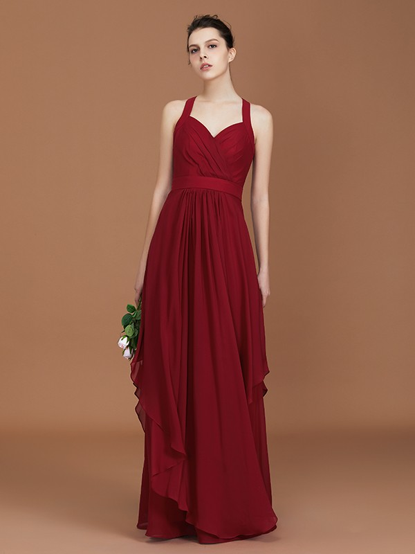 A-Line Straps Chiffon Floor-Length Sleeveless Bridesmaid Dresses With Ruched