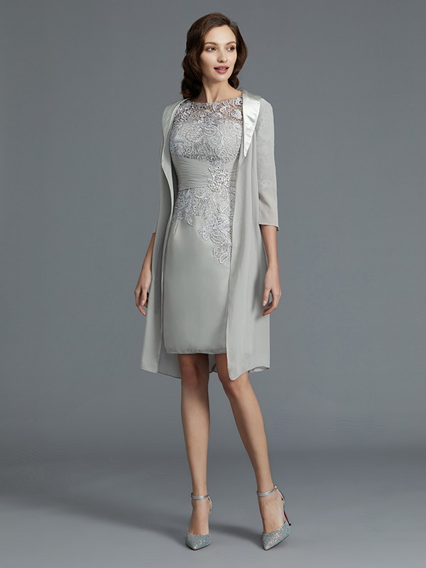 Sheath/Column Scoop 1/2 Sleeves Chiffon Mini Mother of the Bride Dresses