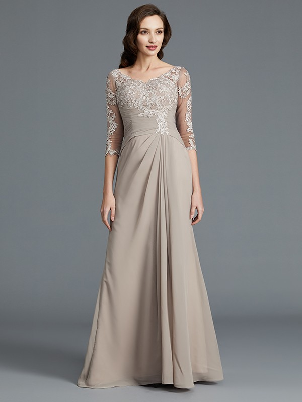 A-Line/Princess 1/2 Sleeves Scoop Chiffon Applique Long Mother of the Bride Dresses