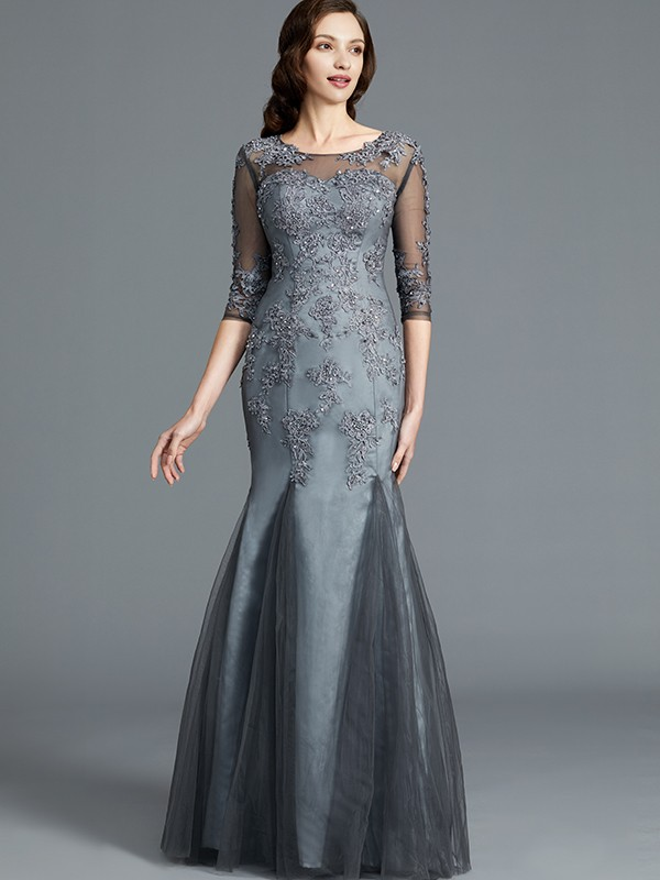 Sheath/Column Scoop 1/2 Sleeves Floor-Length Tulle Applique Mother of the Bride Dresses