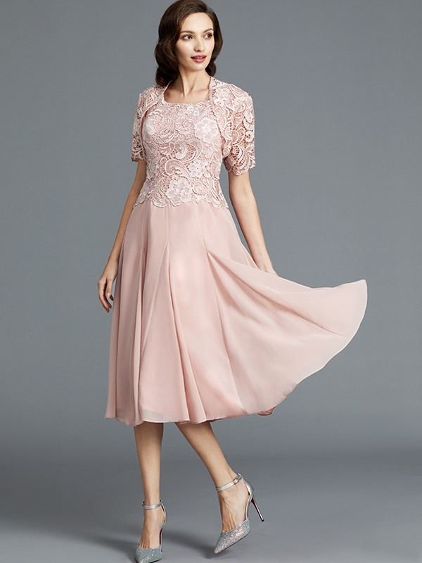 A-Line/Princess Tea-Length Sleeveless Scoop Chiffon Mother of the Bride Dresses