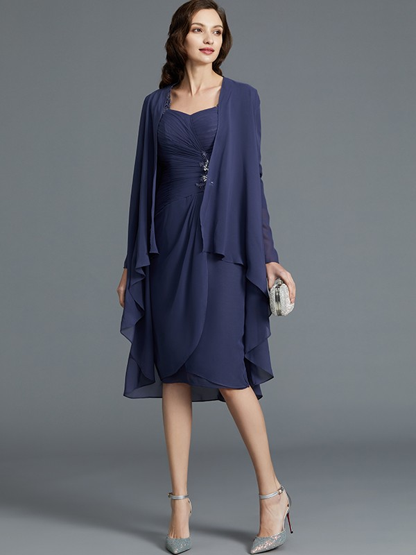 Sheath/Column Sweetheart Chiffon 1/2 Sleeves Knee-Length Mother Dresses
